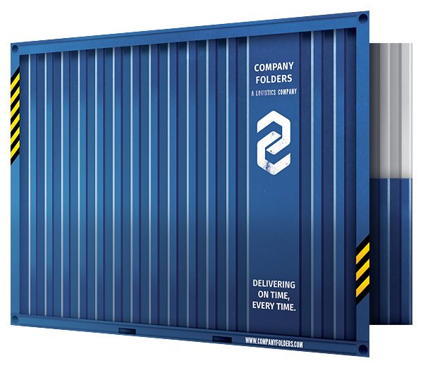 Shipping Container Presentation Folder Template (Front Open View)