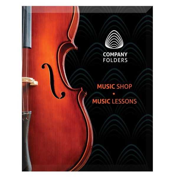 Violin Music Shop Presentation Folder Template (Front View)