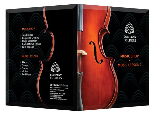Violin Music Shop Presentation Folder Template (Front and Back View)