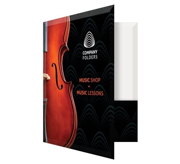 Violin Music Shop Presentation Folder Template (Front Open View)