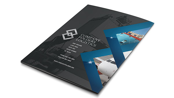 Blue Diamond Logistics Corporate Folder Template (Back View)