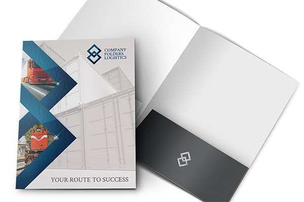 Blue Diamond Logistics Corporate Folder Template (Front and Inside View)