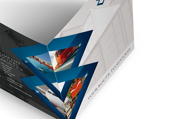 Blue Diamond Logistics Corporate Folder Template (Open Overhead View)