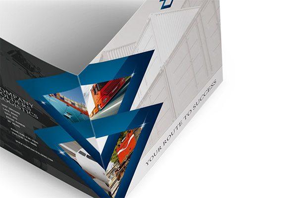Blue Diamond Logistics Corporate Folder Template (Open Overhead View)