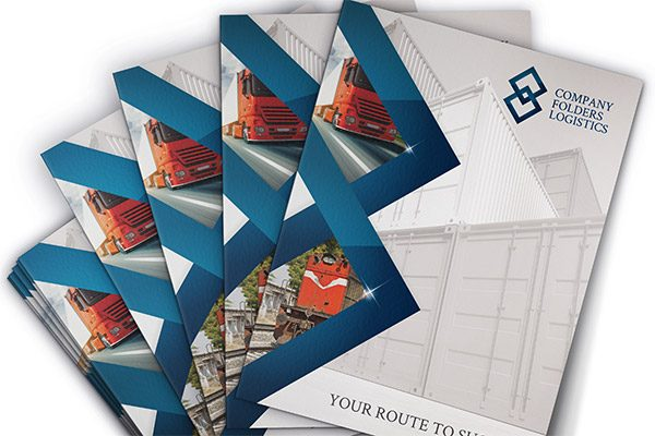 Blue Diamond Logistics Corporate Folder Template (Stacked Spread View)