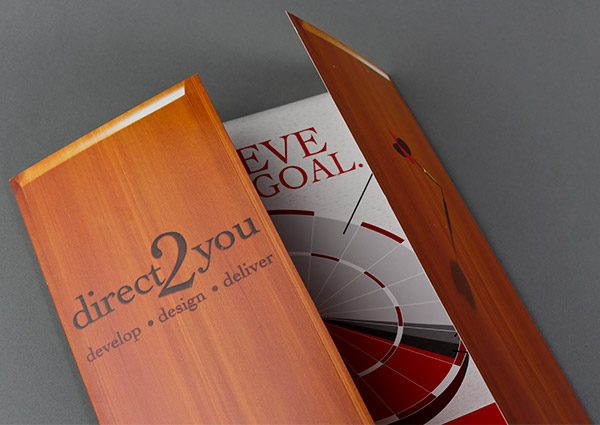 Direct 2 You Marketing Tri-Panel Folder (Front Open Close View)