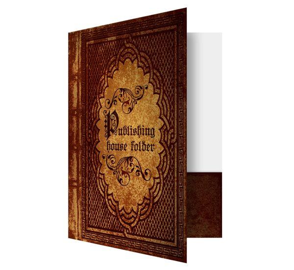 Antique Book Publisher Presentation Folder Template (Front Open View)