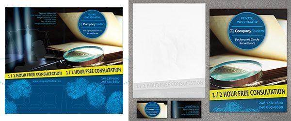 Folder, Letterhead & Business Card Mockup PSD Template Example 2