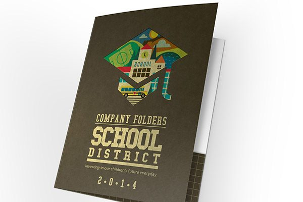 School District Illustrated Folder Template (Front View Slightly Open)