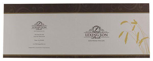 Lexington Park Retirement Community Folder (Front and Back Flat View)