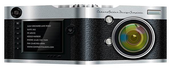 Camera Pocket Folder Design Template (Front and Back View)