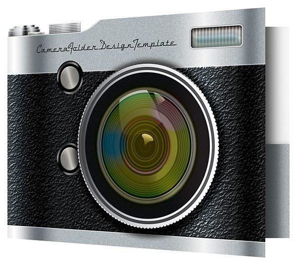 Camera Pocket Folder Design Template (Front Open View)