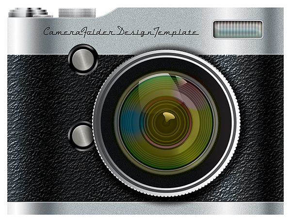 Camera Pocket Folder Design Template (Front View)