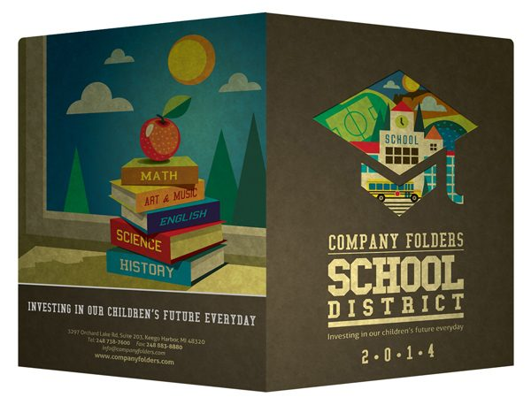 School District Illustrated Folder Template (Front and Back View)