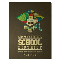 School District Illustrated Folder Template (Front View)