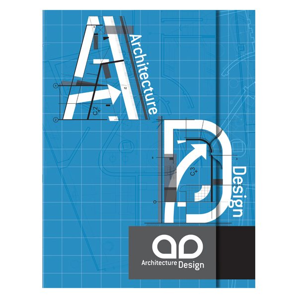 Architecture blueprint pocket folder design template architecture blueprint pocket folder design template front view malvernweather Image collections