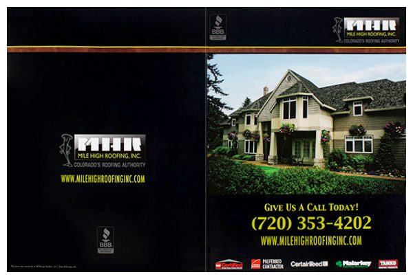 Mile High Roofing Inc. Pocket Folder (Front and Back Flat View)
