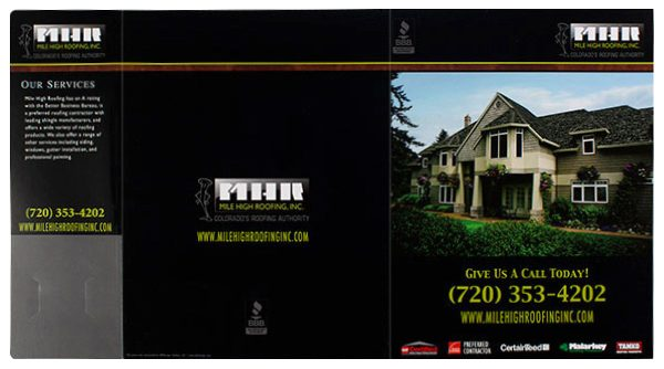 Mile High Roofing Inc. Pocket Folder (Front and Back and Flap View)