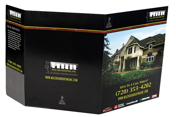 Mile High Roofing Inc. Pocket Folder (Front and Back Open View)