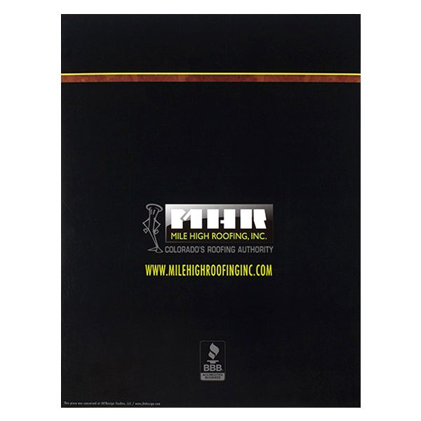 Mile High Roofing Inc. Pocket Folder (Back View)