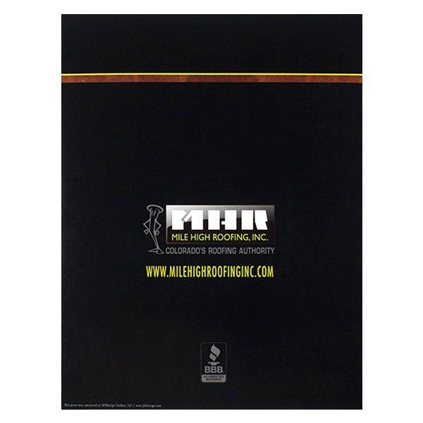 Mile High Roofing Inc. Pocket Folder (Back View)