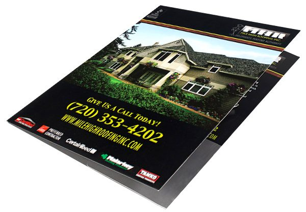 Mile High Roofing Inc. Pocket Folder (Front Open View on Surface)
