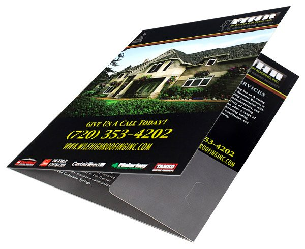Mile High Roofing Inc. Pocket Folder (Front Open View 2 on Surface)