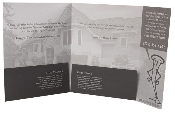 Mile High Roofing Inc. Pocket Folder (Inside View)