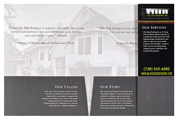 Mile High Roofing Inc. Pocket Folder (Inside Flat View)
