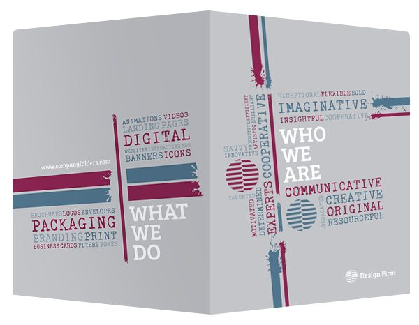 Tag Cloud Design Firm Pocket Folder Template (Front and Back View)