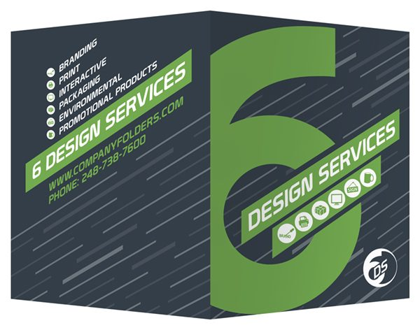 Six Design Services Folder Template (Front and Back View)