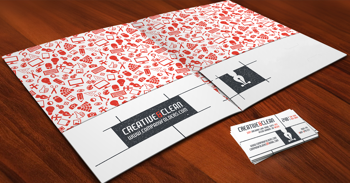 Creative clean folder and business card free ai template fbccfo Image collections