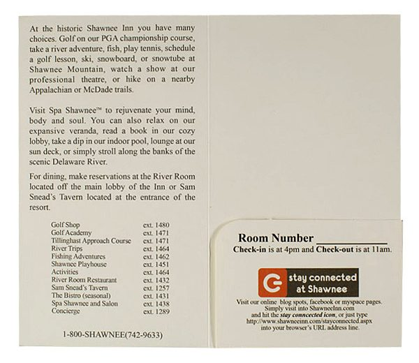Shawnee Inn & Golf Resort Key Card Folder (Inside Flat View)
