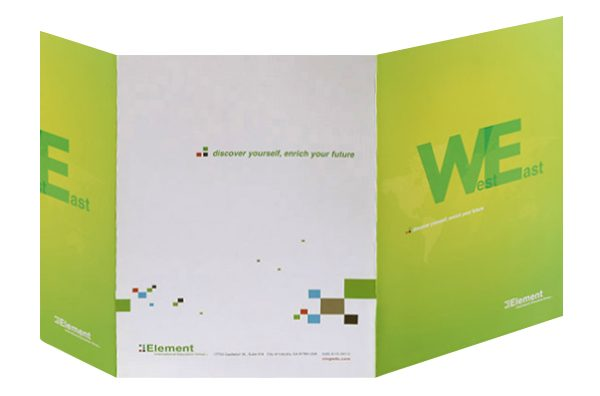 Element International Education Group Pocket Folder (Back Open View)