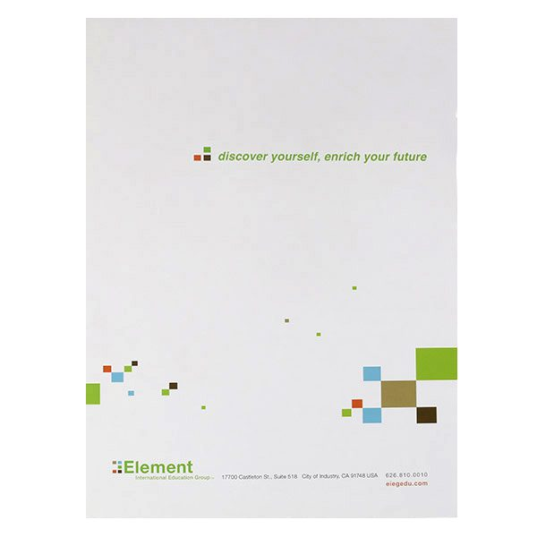 Element International Education Group Pocket Folder (Back View)