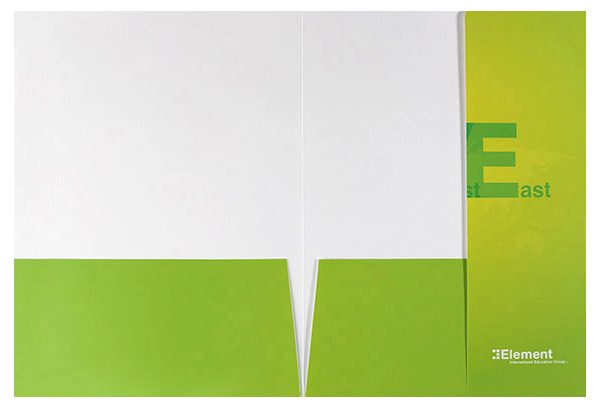 Element International Education Group Pocket Folder (Inside View with Closed Right Panel)