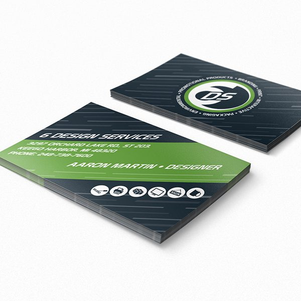 Six Design Services Business Card Template (Front and Back View)