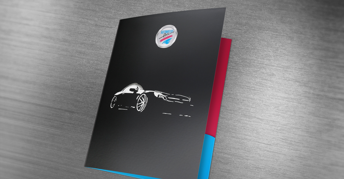 automotive art two pocket folder design