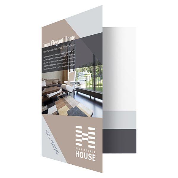 Elegant Home Real Estate Pocket Folder & Flyer Template