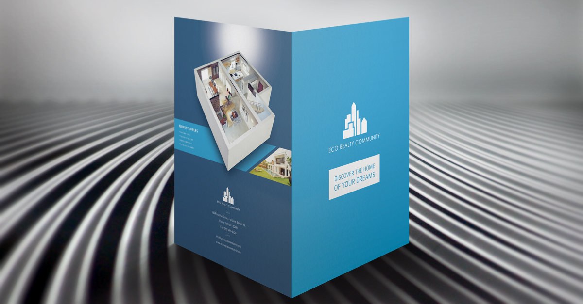 eco real estate pocket folder  u0026 brochure template