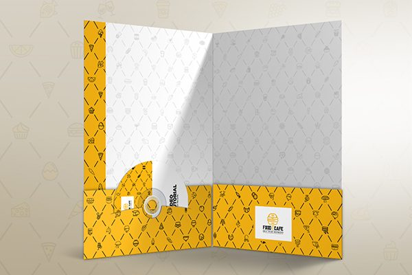Fast Food Corporate Presentation Folder (Inside View)