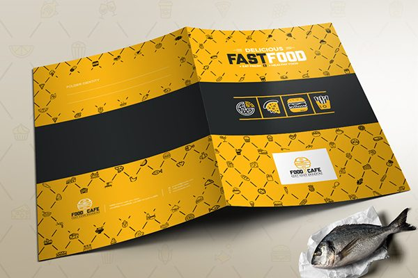 Fast Food Corporate Presentation Folder (Front and Back View)