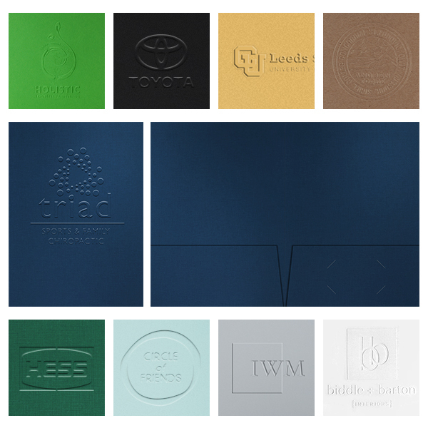 Custom Embossed Presentation Folders with Logo from 53¢