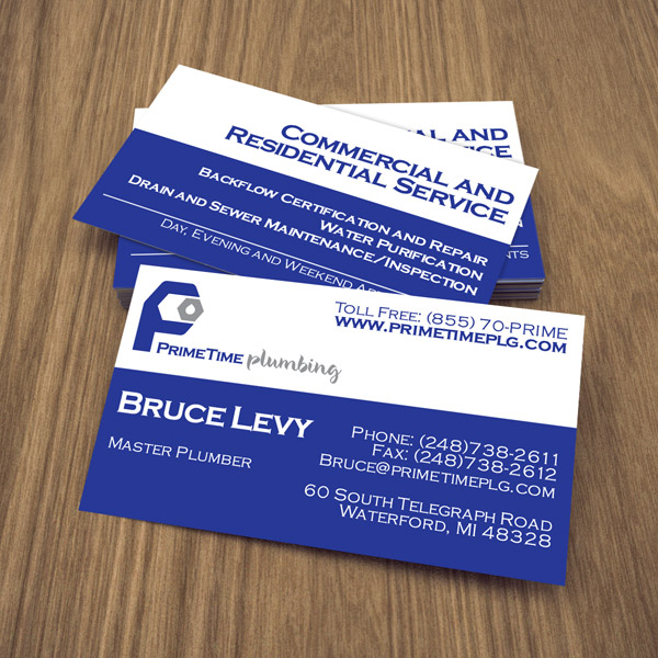 Business card design services creating designs youll love business card design prime time plumbing colourmoves Images