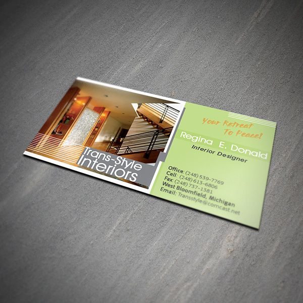 Business card design services creating designs youll love business card design trans style interiors accmission Image collections