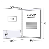 Left Pocket Presentation Folder w/ Window & Fold Down Tab