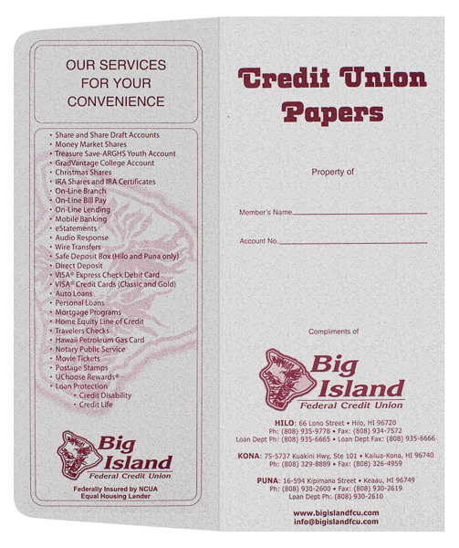 Big Island Federal Credit Union (Front and Back Flat View)