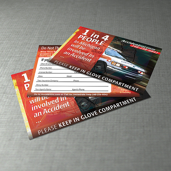 Print Design - Accident MI Business Cards
