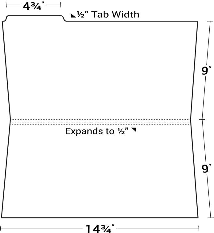 Legal Size File Folder With Top Left Tab Custom Full