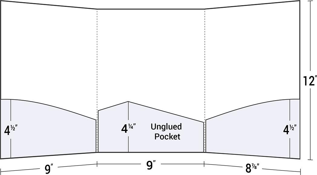 Tri-Panel 3 Curved Pocket Letter Size Presentation Folder
